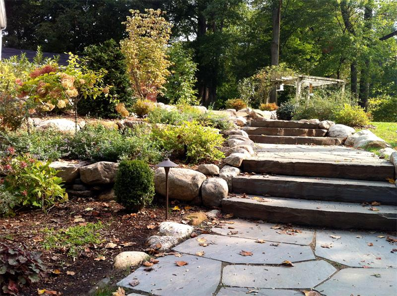Retaining Wall, Steps, Walkway, Landscape Lighting, Planting Enhancements